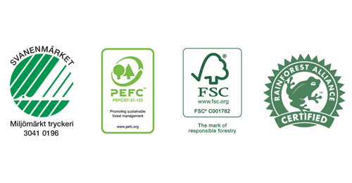 Logotype Svanen, PEFC, FSC, Rainforest Alliance